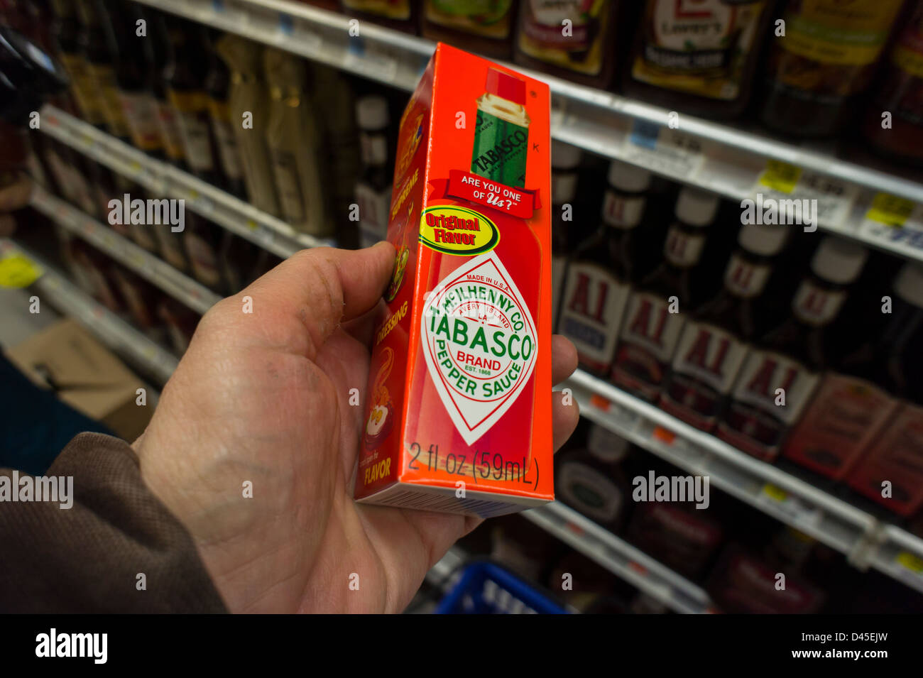 Bottle of McIlhenny Co. Tabasco brand pepper sauce is seen in a supermarket in New York - Stock Image