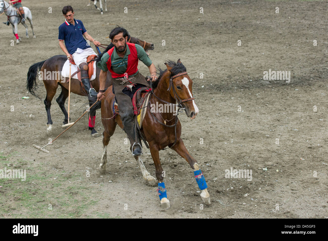 Fierce action during a polo match, Chitral, Khyber-Pakhtunkhwa, Pakistan - Stock Image