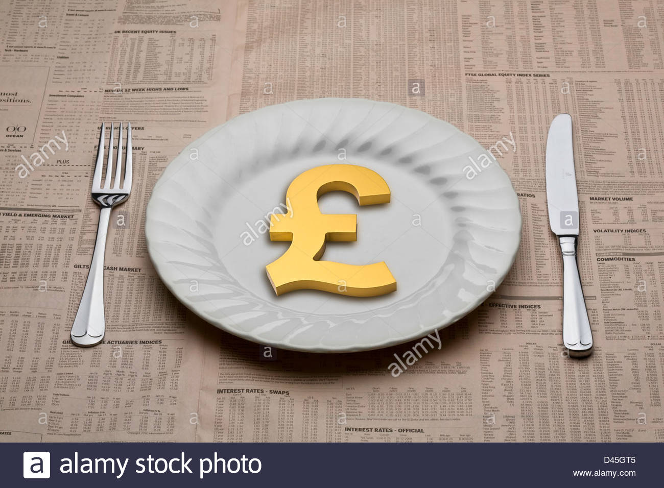 Pound symbol on a dinner plate with a knife and fork ready to eat for lunch on a table cloth of a financial newspaper - Stock Image