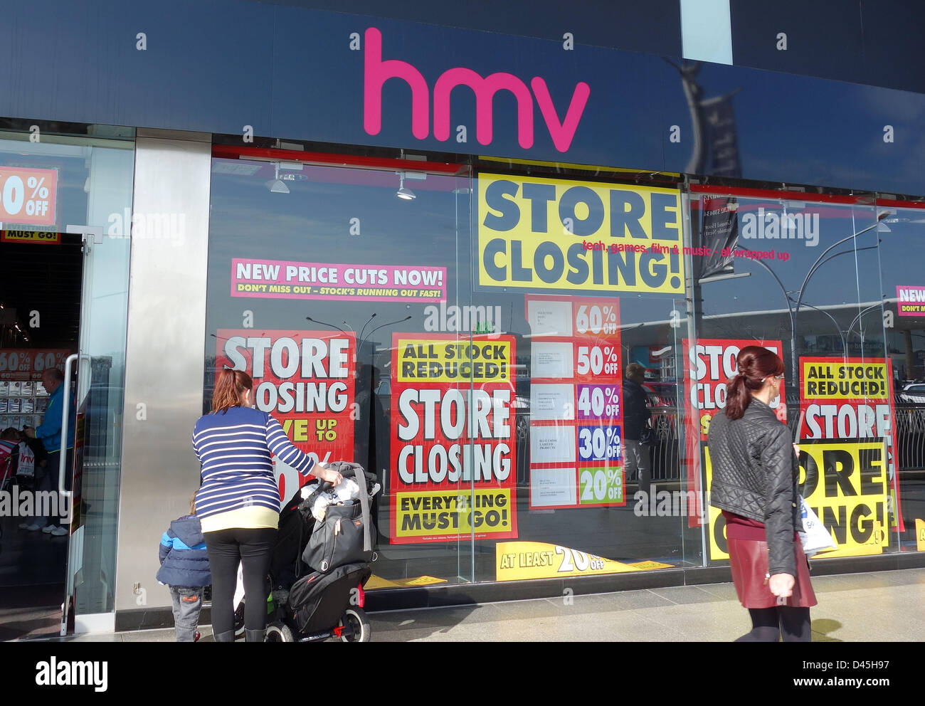 HMV store closing sale, Bournemouth Castlepoint, Dorset, Britain, UK - Stock Image