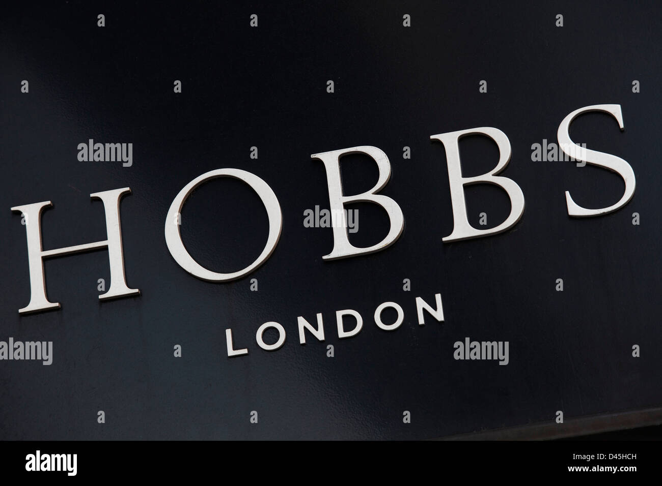 Sign for clothes shop Hobbs. - Stock Image