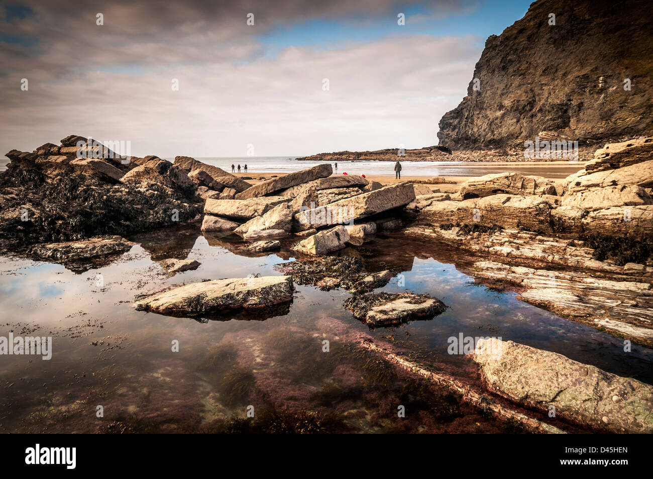 rock pool at crackington haven beach,cornwall - Stock Image