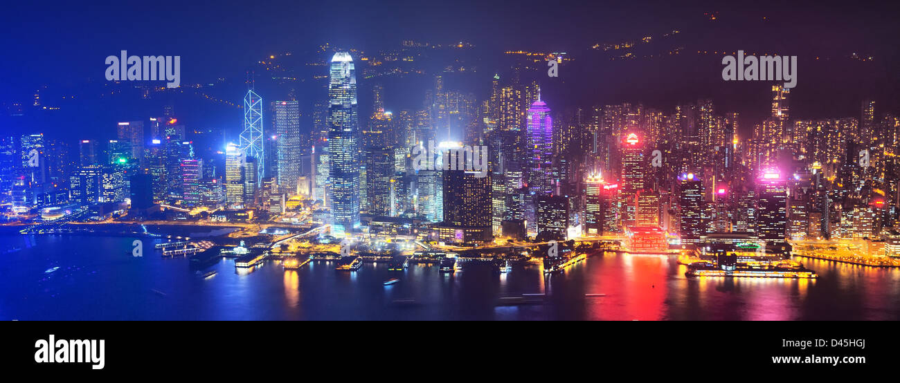 Cityscape of Hong Kong Island from Victoria Peak. - Stock Image