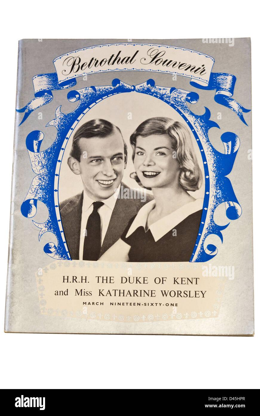 Betrothal Souvenir H.R.H The Duke Of Kent and Miss Katharine Worsley - Stock Image