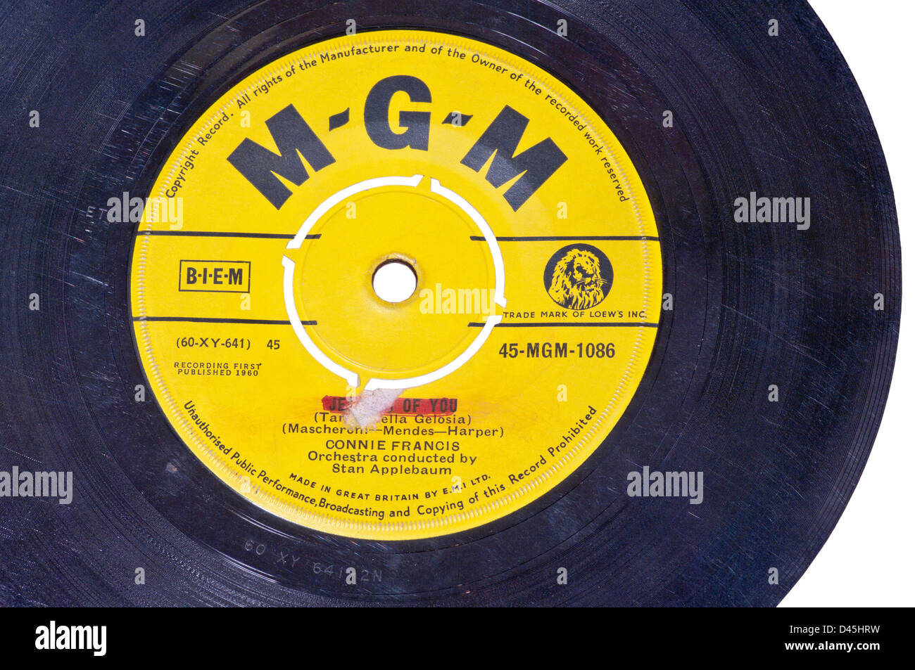 MGM Record Label on a 45 RPM Single Vinyl Record - Stock Image