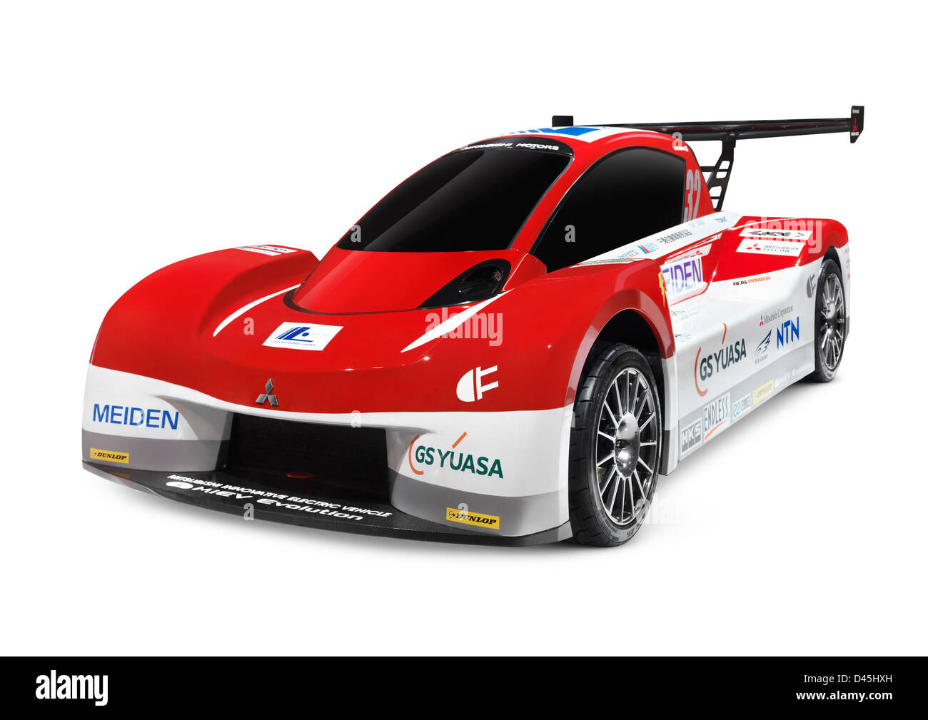 2012 Mitsubishi i-MiEV Evolution electric race car isolated on white background - Stock Image