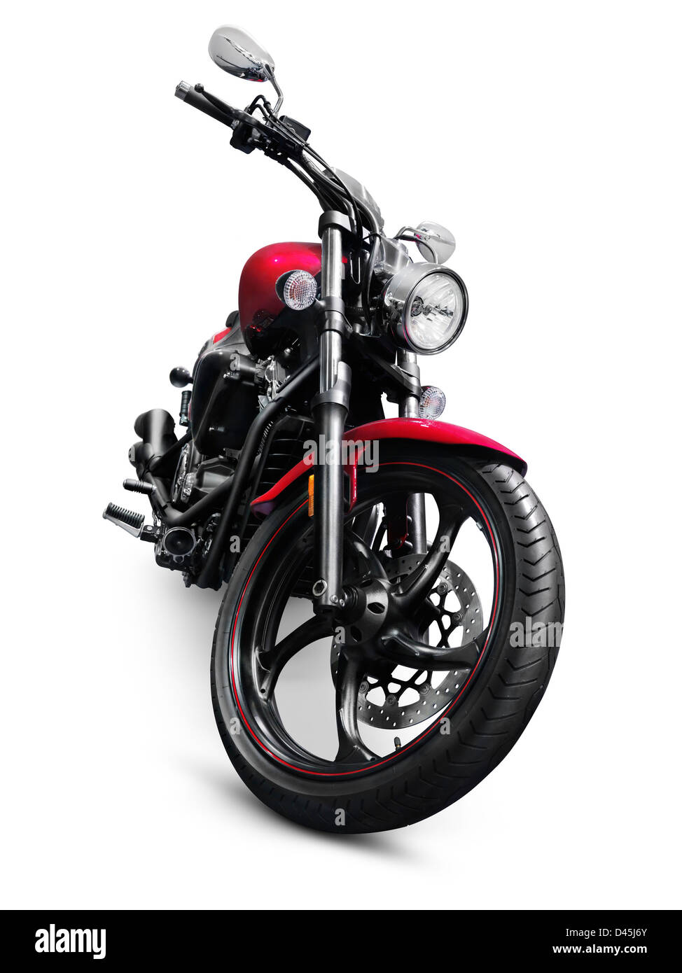 2013 Yamaha Star V 1300 motorbike. Isolated motorcycle on white background with clipping path - Stock Image