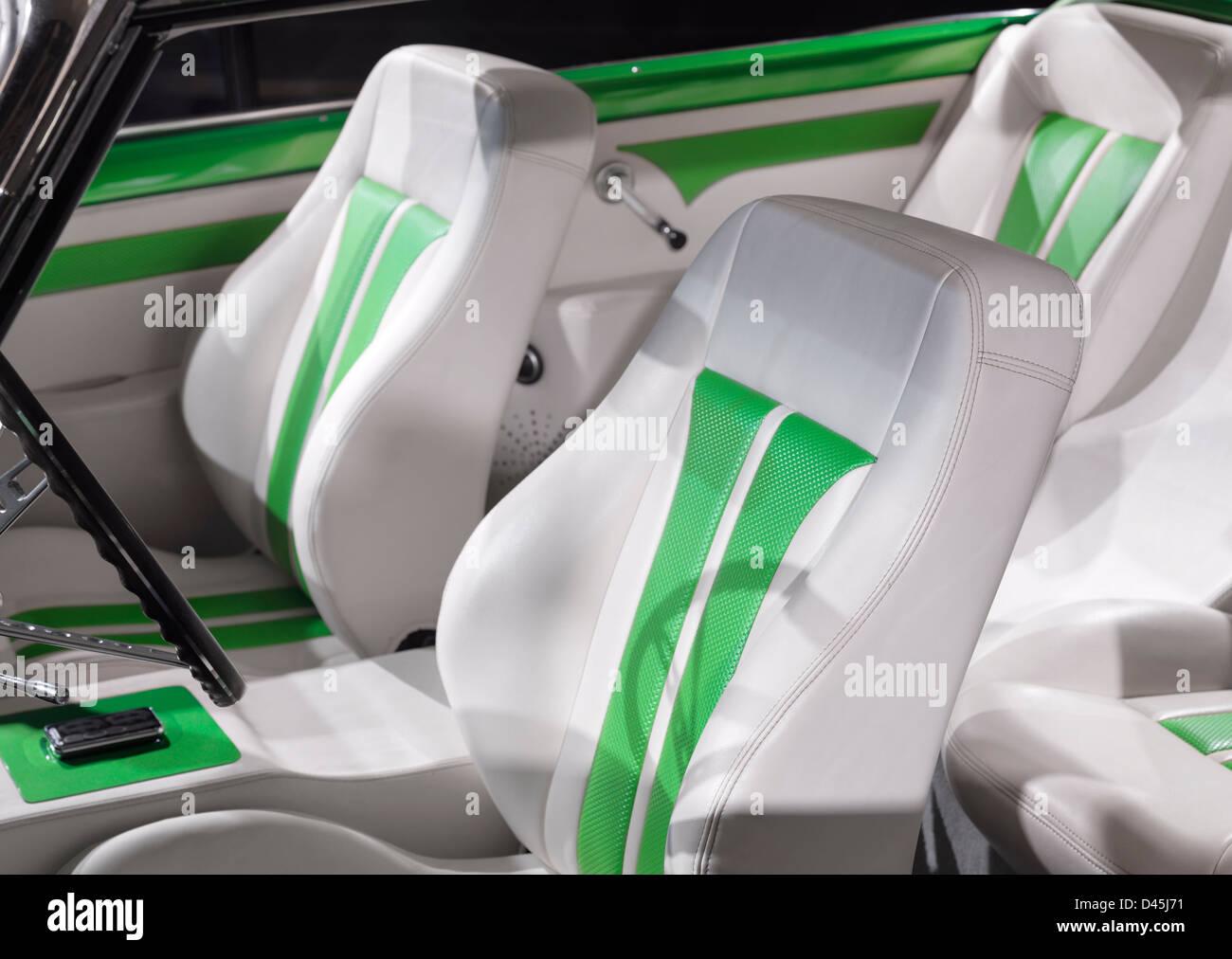 Classic Retro Car Custom Interior White With Green Leather Seats