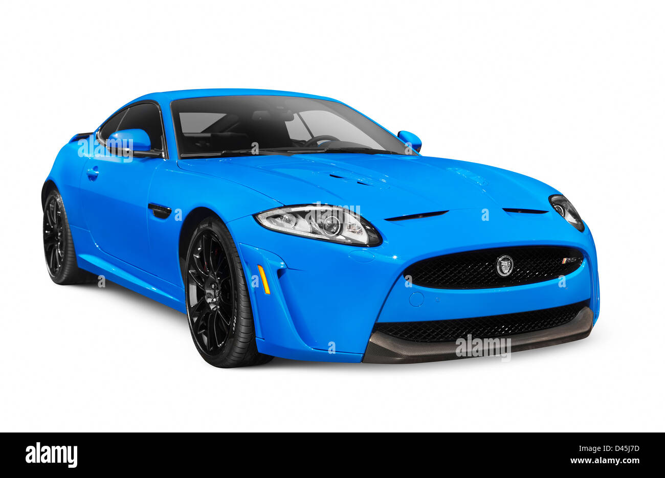 Blue 2013 Jaguar XKR-S luxury car isolated on white background with clipping path - Stock Image