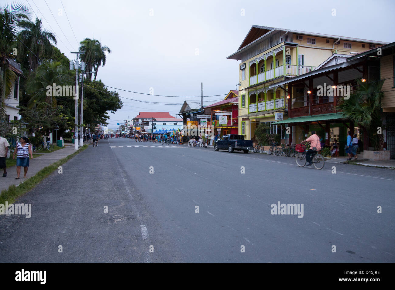 Main Street view of Bocas del Toro Town. - Stock Image