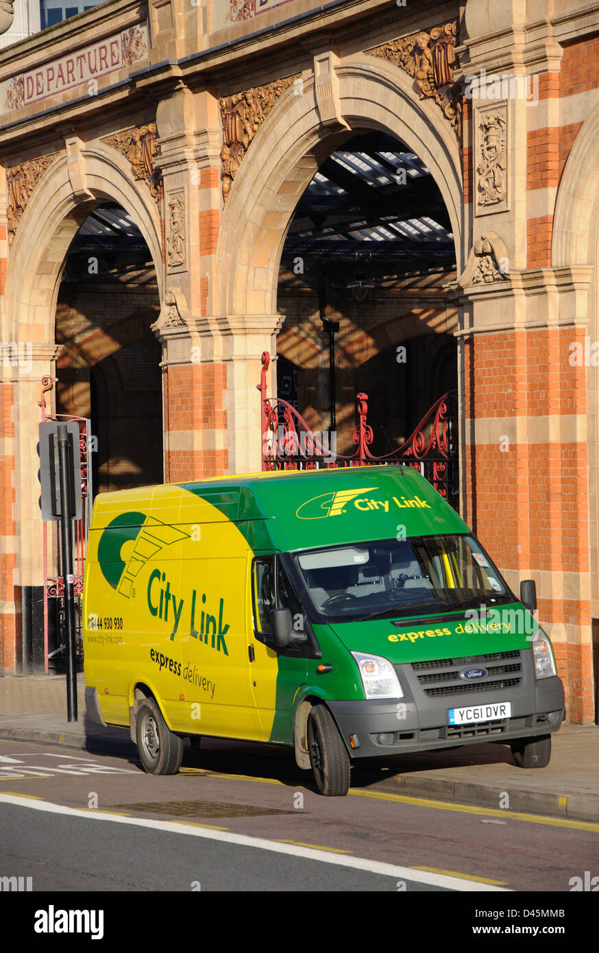 City Link van parked outside Leicester station, Leicester, England, UK - Stock Image