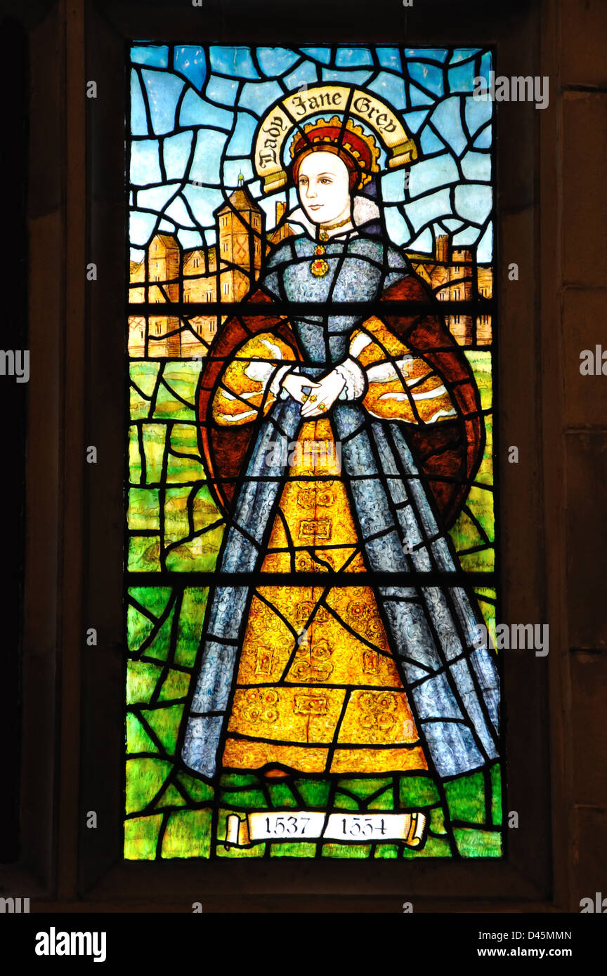 stained glass window of Lady Jane Grey, the Nine Days Queen, Bradgate Park Visitor Centre, Leicestershire, England, - Stock Image