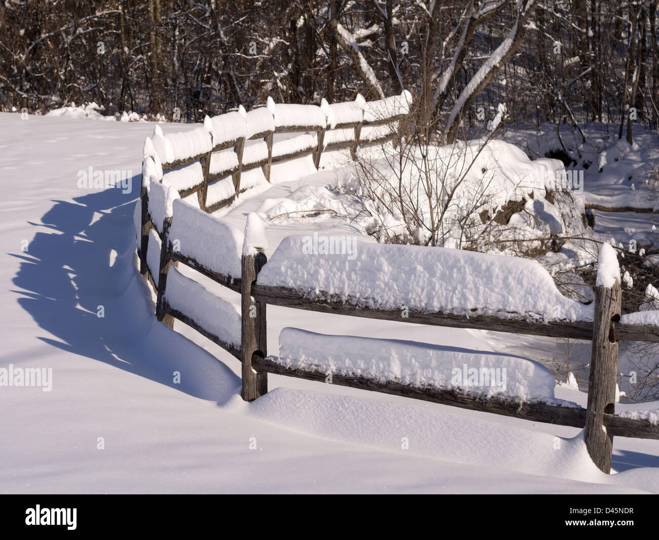 Snowy Fence. A snow covered curve of a fence in the bright sunshine leads towards the woods. Ottawa, Ontario, Canada - Stock Image