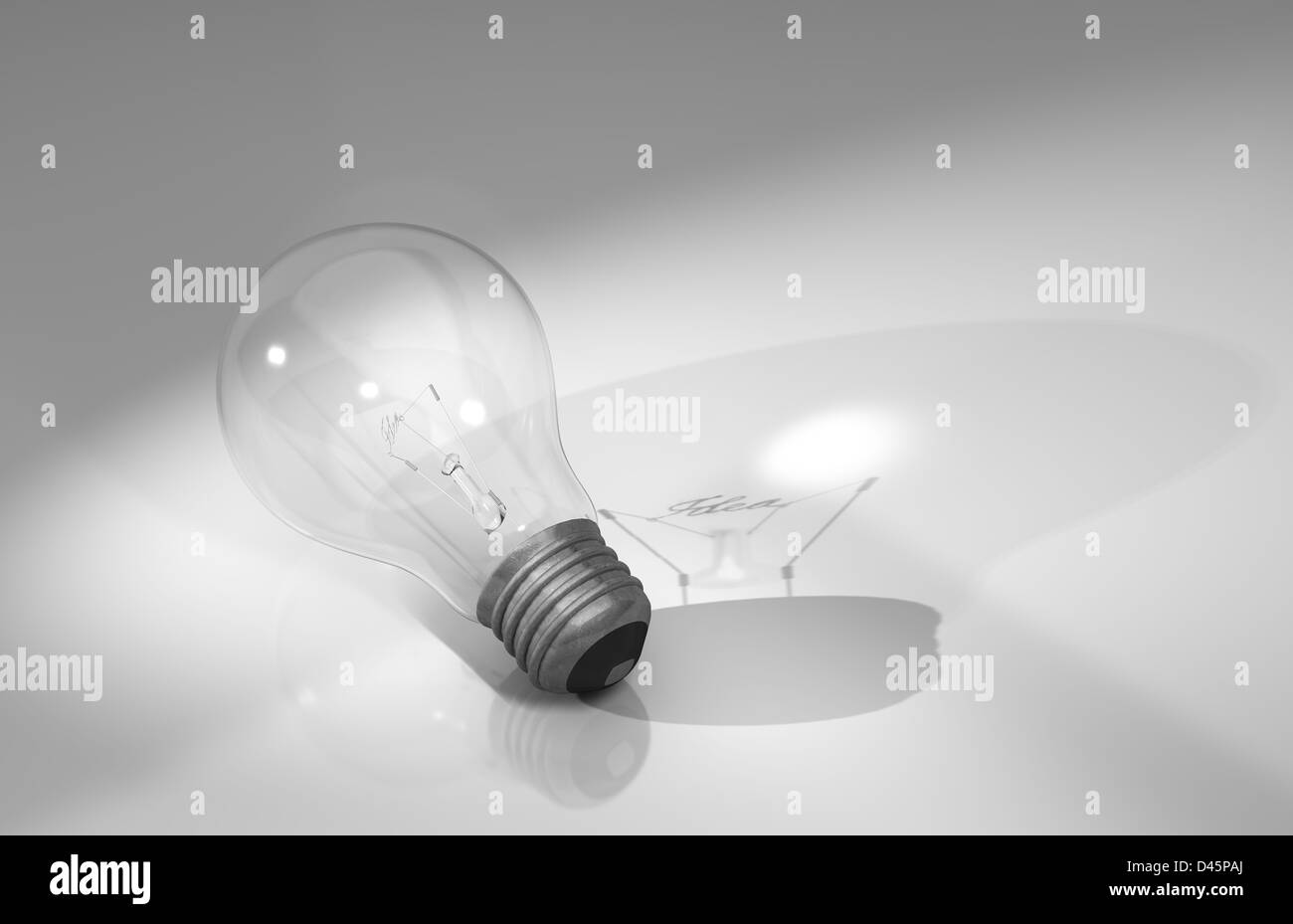 a light bulb with a filament spelling out the word idea and casting