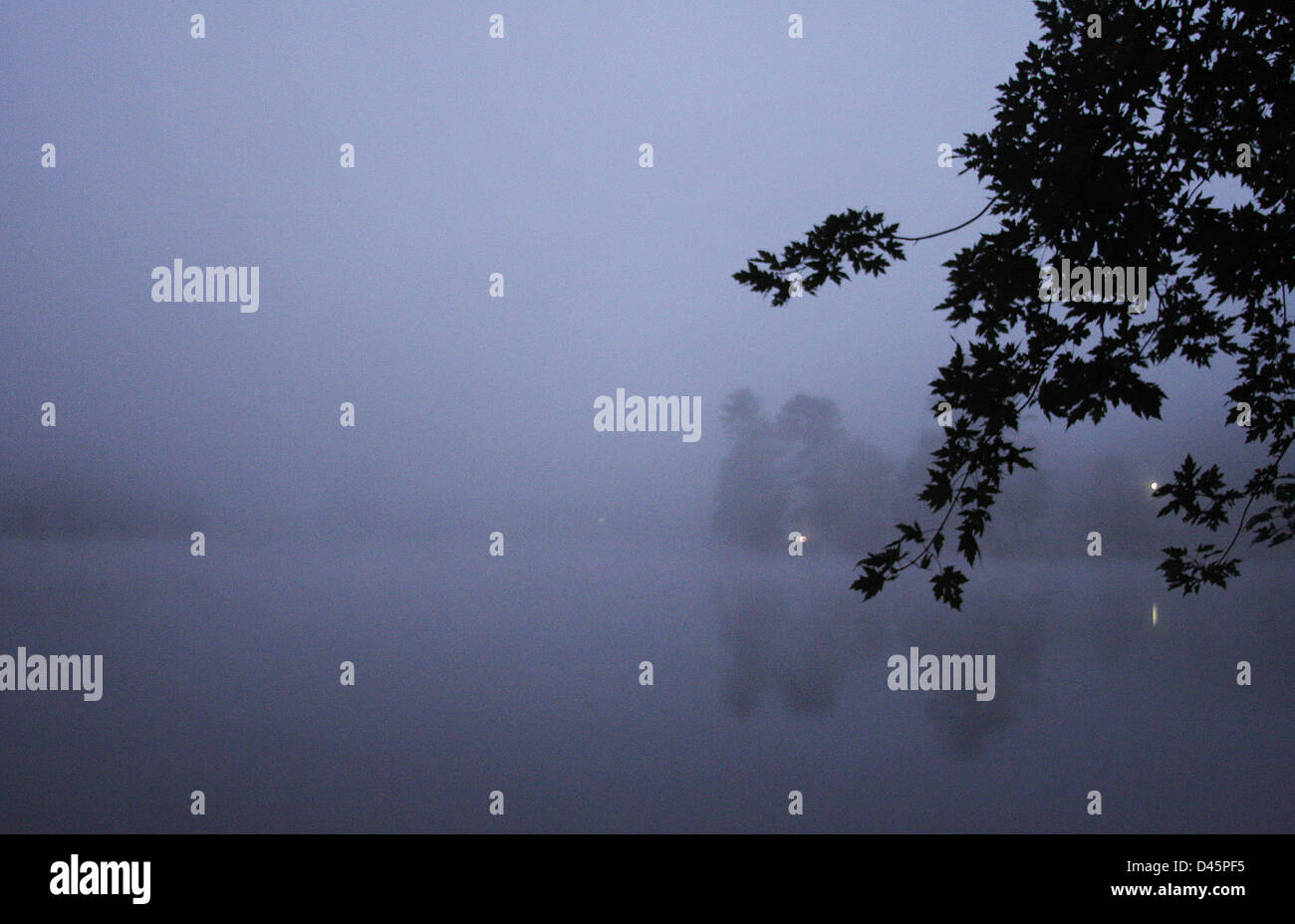A foggy dawn at Beaver Lake in Asheville, North Carolina Stock Photo