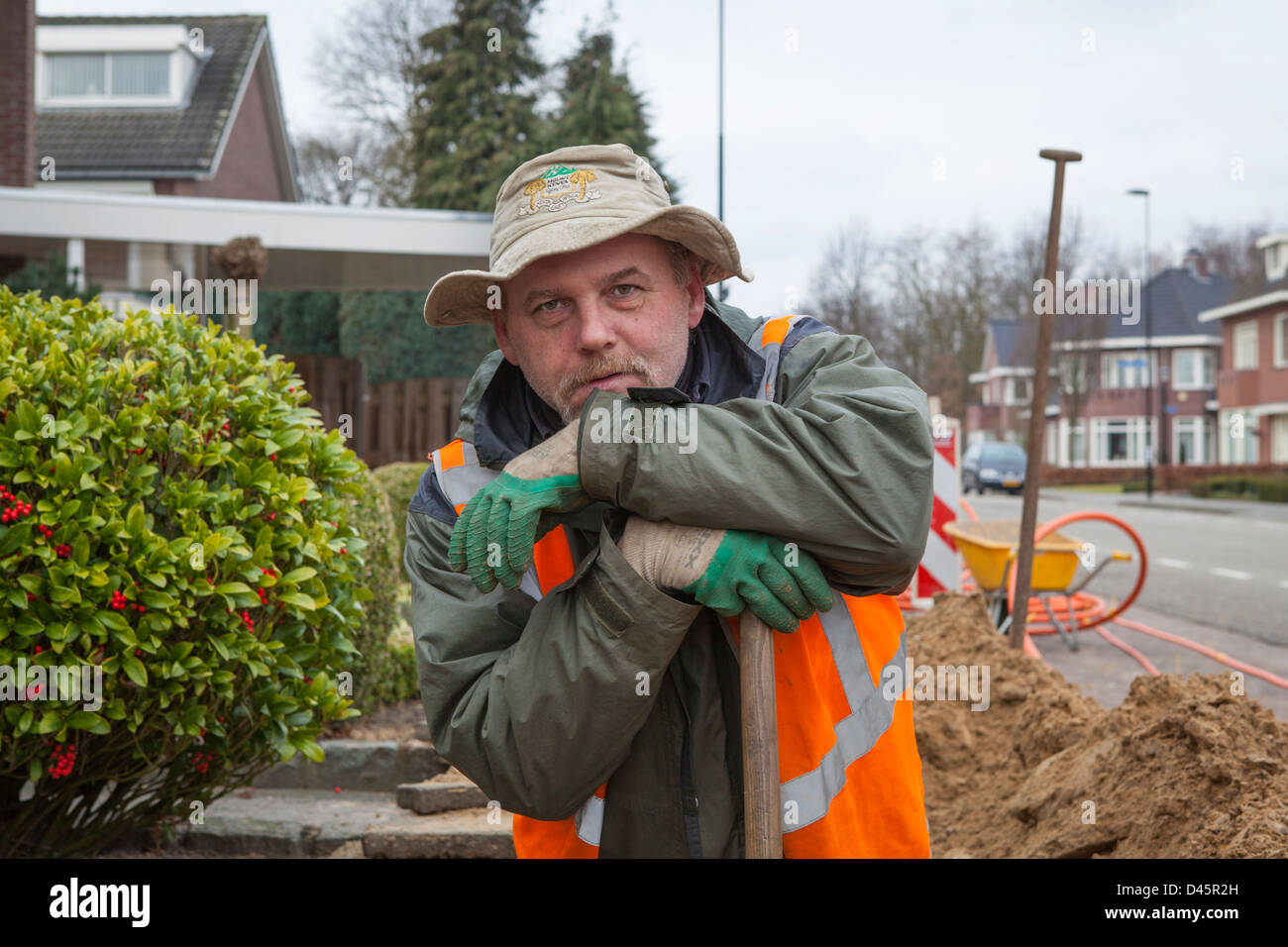 Portrait of a Polish migrant worker doing earth work for the construction of a glass fiber infrastructure in Netherlands - Stock Image