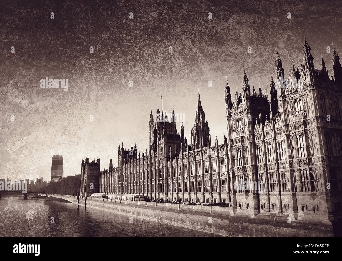 westminster on textured background - Stock Image