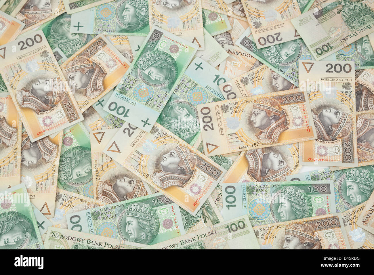dissolved Poland currency (hundred and two hundred) as background - Stock Image