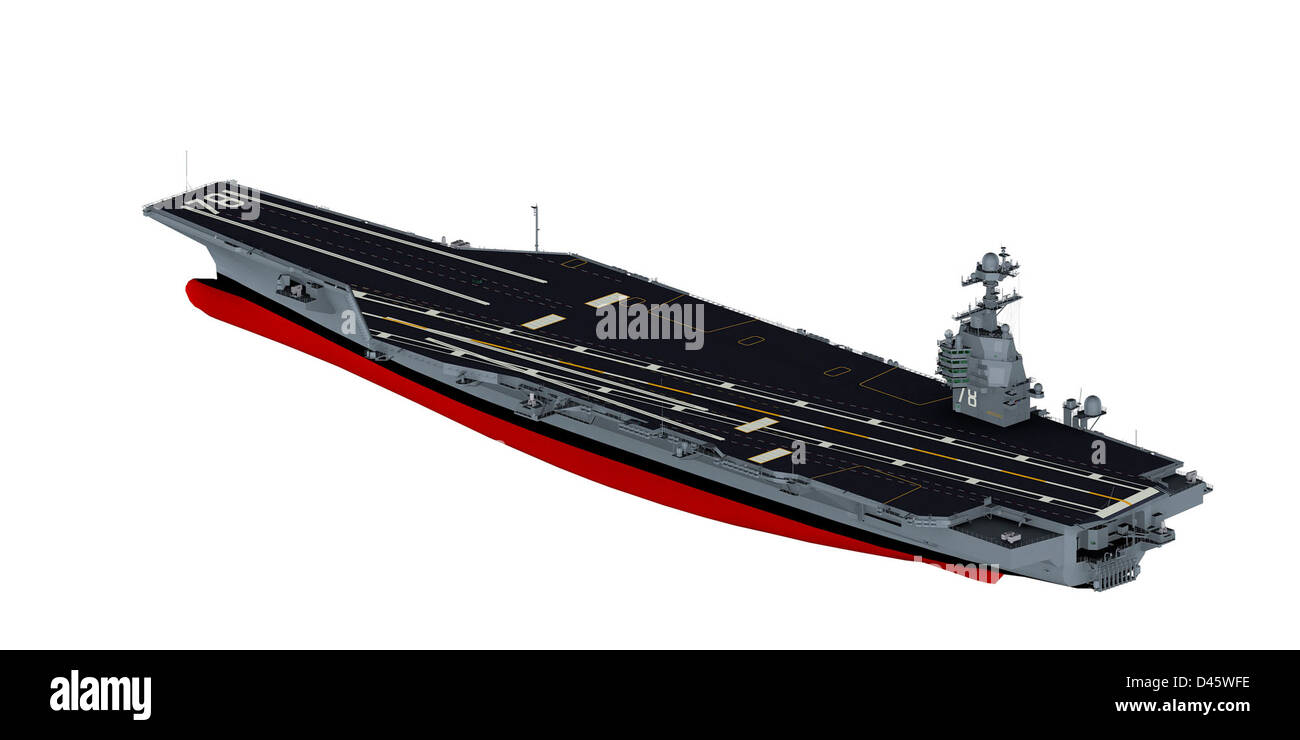 A 3D graphic of aircraft carrier Gerald R. Ford. - Stock Image