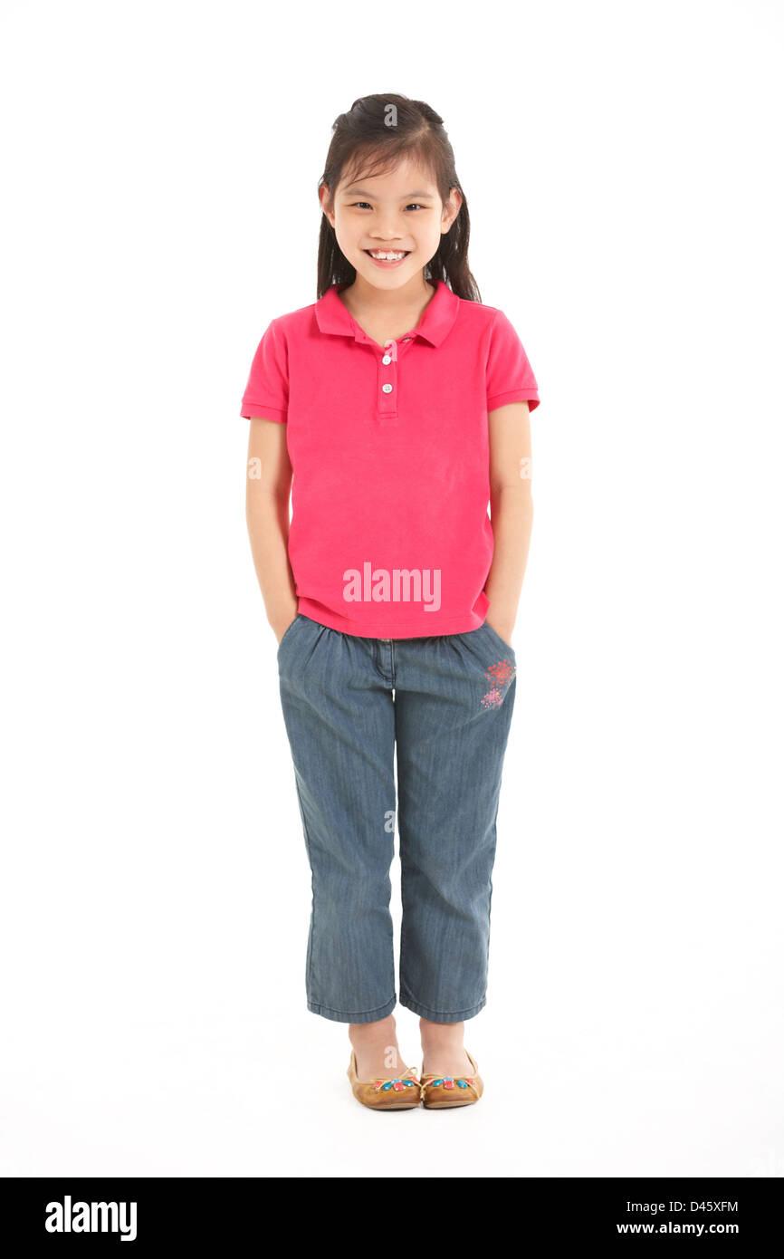 Full Length Studio Shot Of Chinese Girl - Stock Image