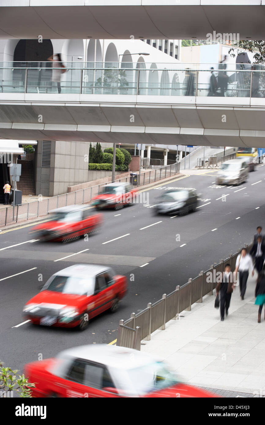 Traffic Along Busy Hong Kong Street - Stock Image