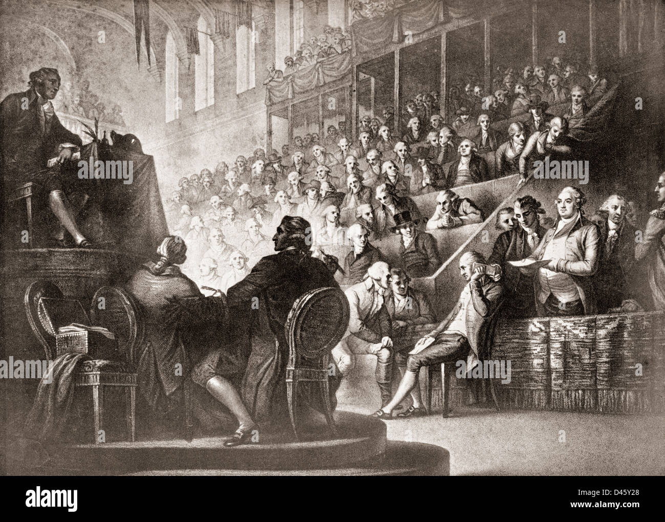 The trial of Louis XVI at the National Convention,1792. Stock Photo