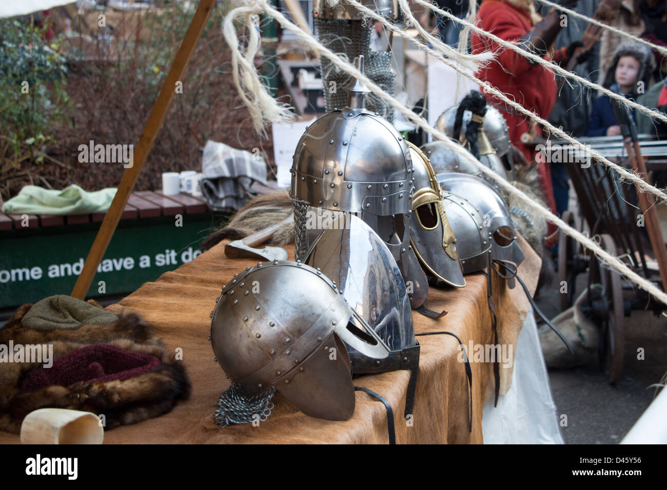 Viking helmets near Jorvik Museum Stock Photo