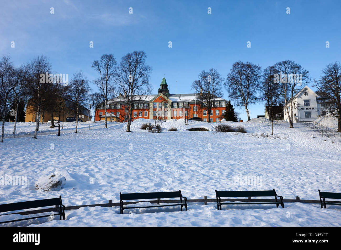 kings park in front of kongsbakken upper secondary school Tromso troms Norway europe - Stock Image