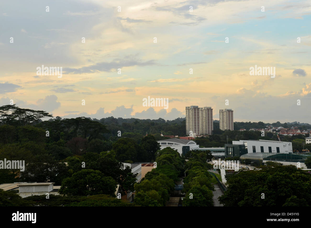 Central Singapore building skyline - Stock Image