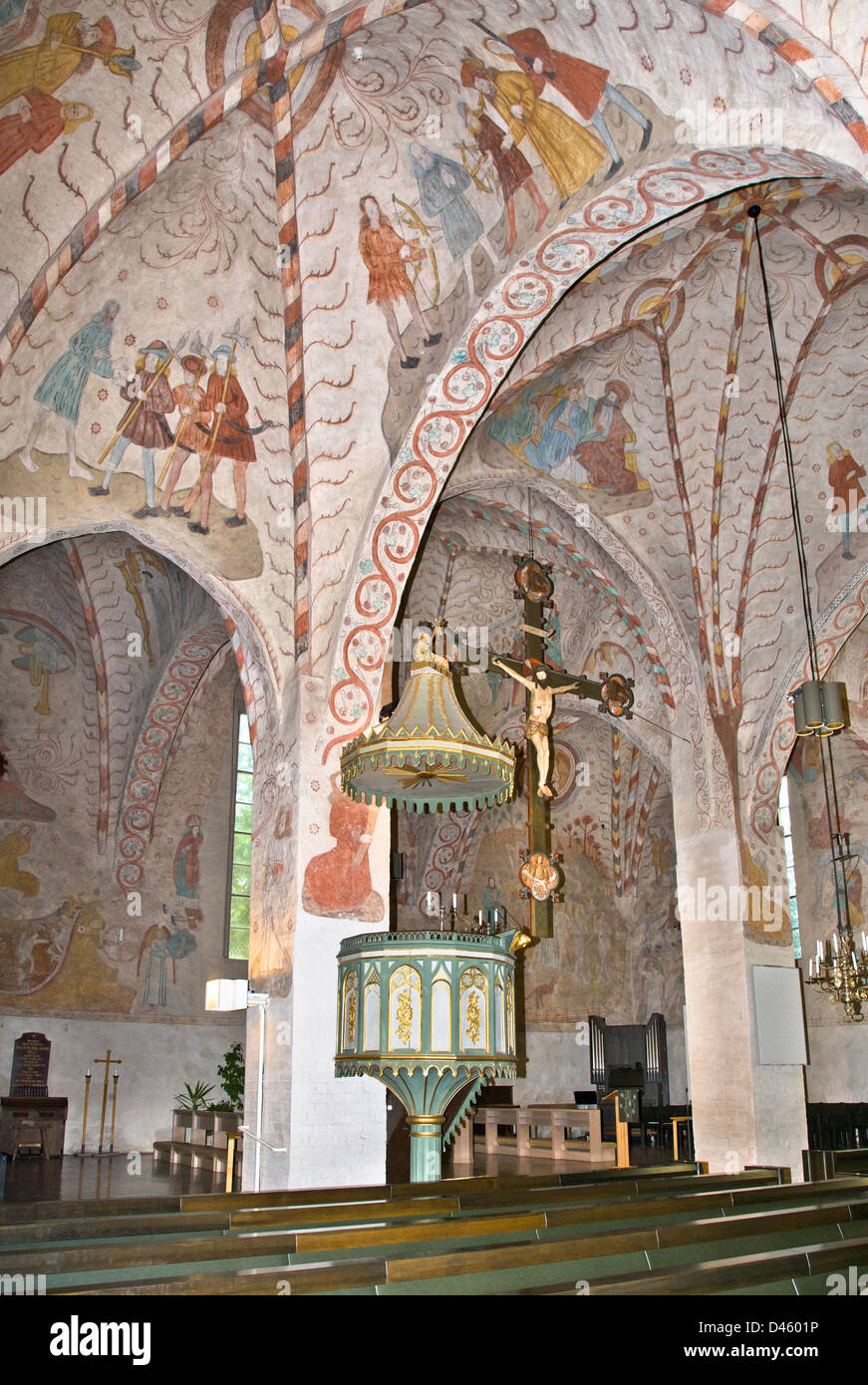 Finland, Southern Finland, Lohja, Pyhän Laurin kirkko, interior view of the 15th century Gothic St. Lawrence - Stock Image