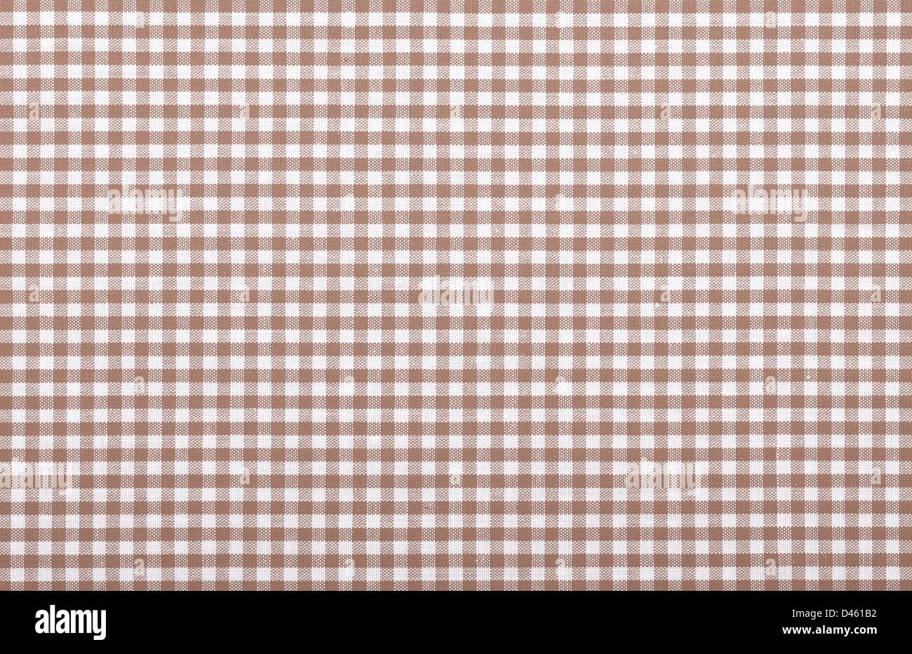 brown checkered fabric closeup , tablecloth texture Stock Photo