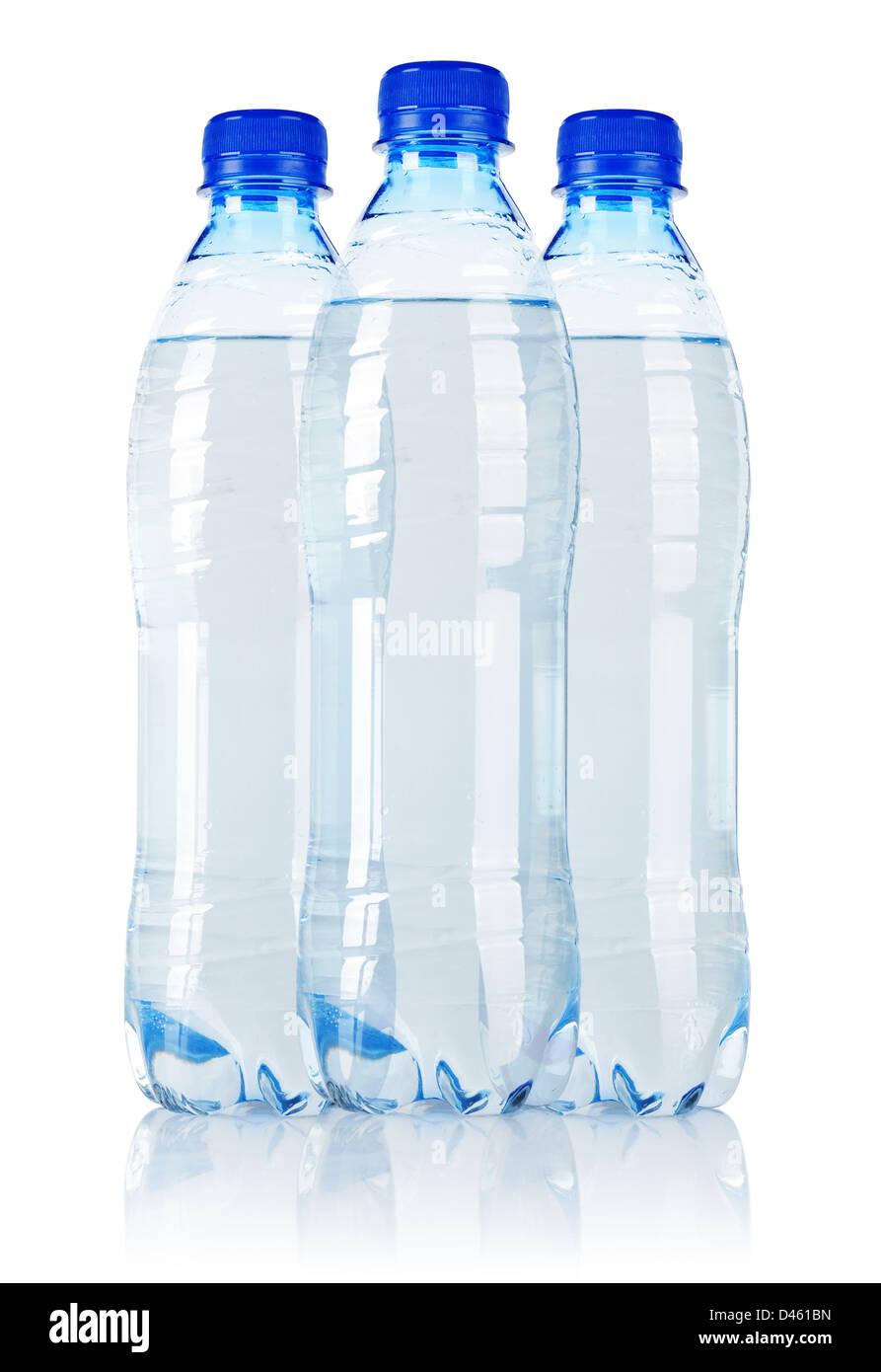 Three Soda water bottle isolated on white background - Stock Image