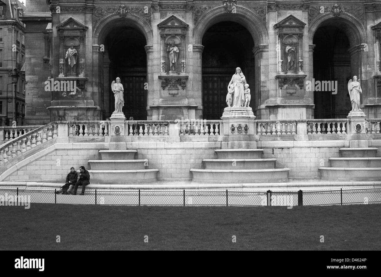 Eglise de la sainte trinite, Paris, France, black and white - Stock Image
