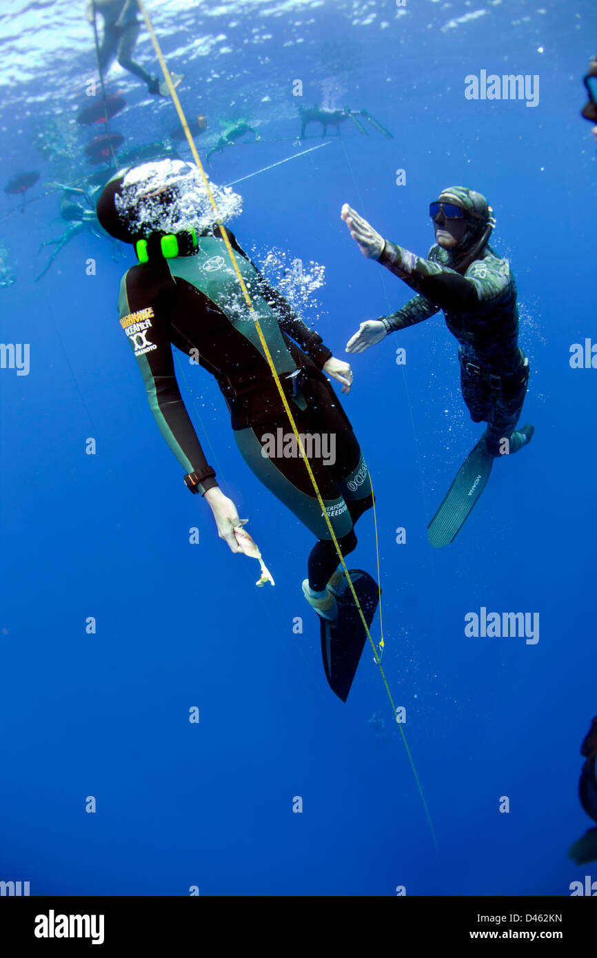 Asafety diver spots a participant as she surfaces at the DeJa Blue competition. - Stock Image
