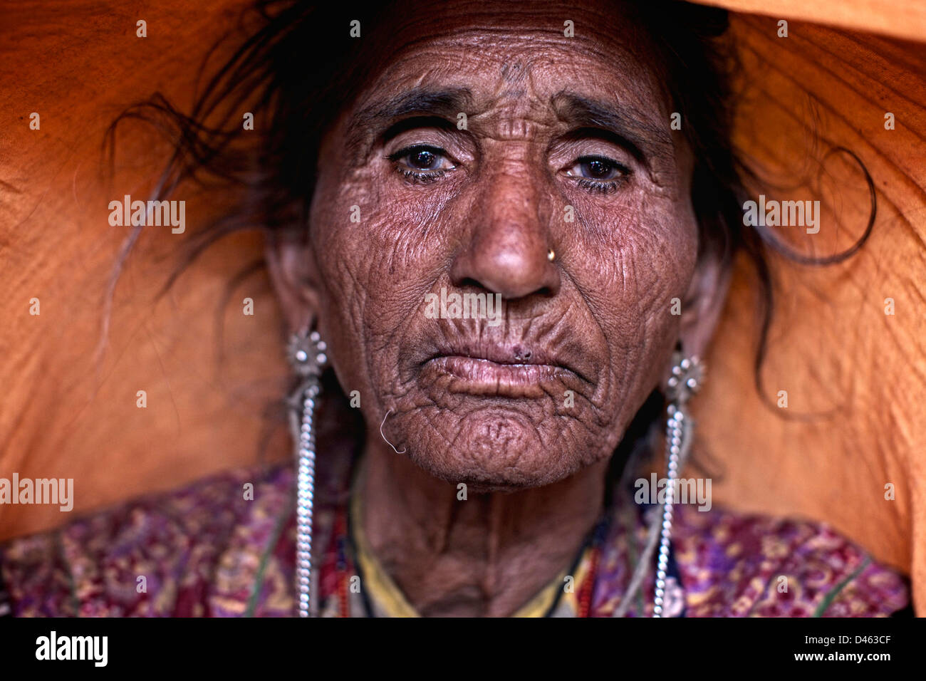 Old woman from Gujarat,India. - Stock Image