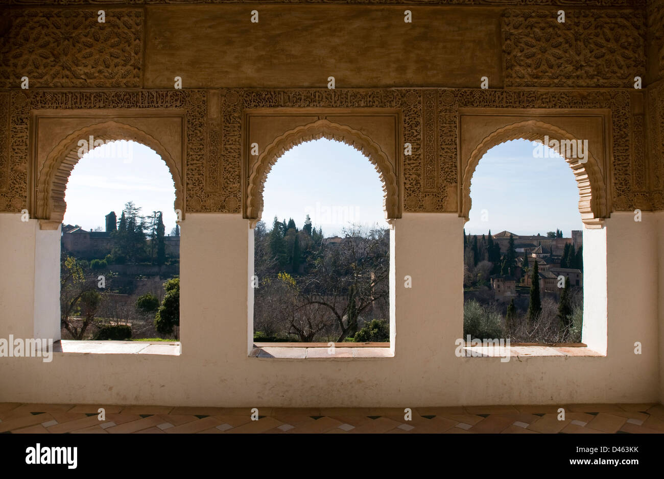Panoramic view of the Alhambra from the Generalife Gardens Stock Photo
