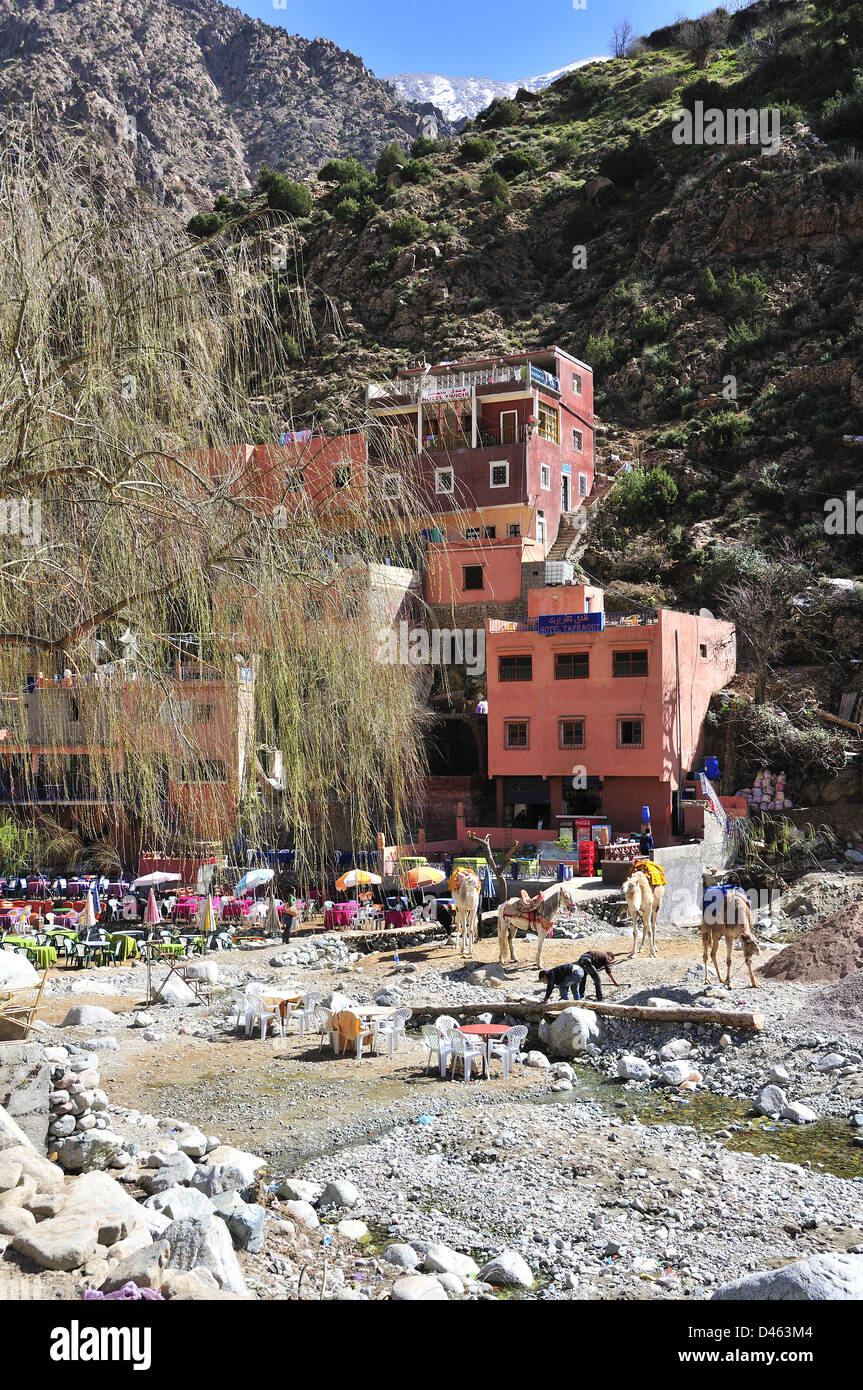 The tourist village of Setti Fatma below the high Atlas Mountains, in the Ourika Valley, Morocco Stock Photo