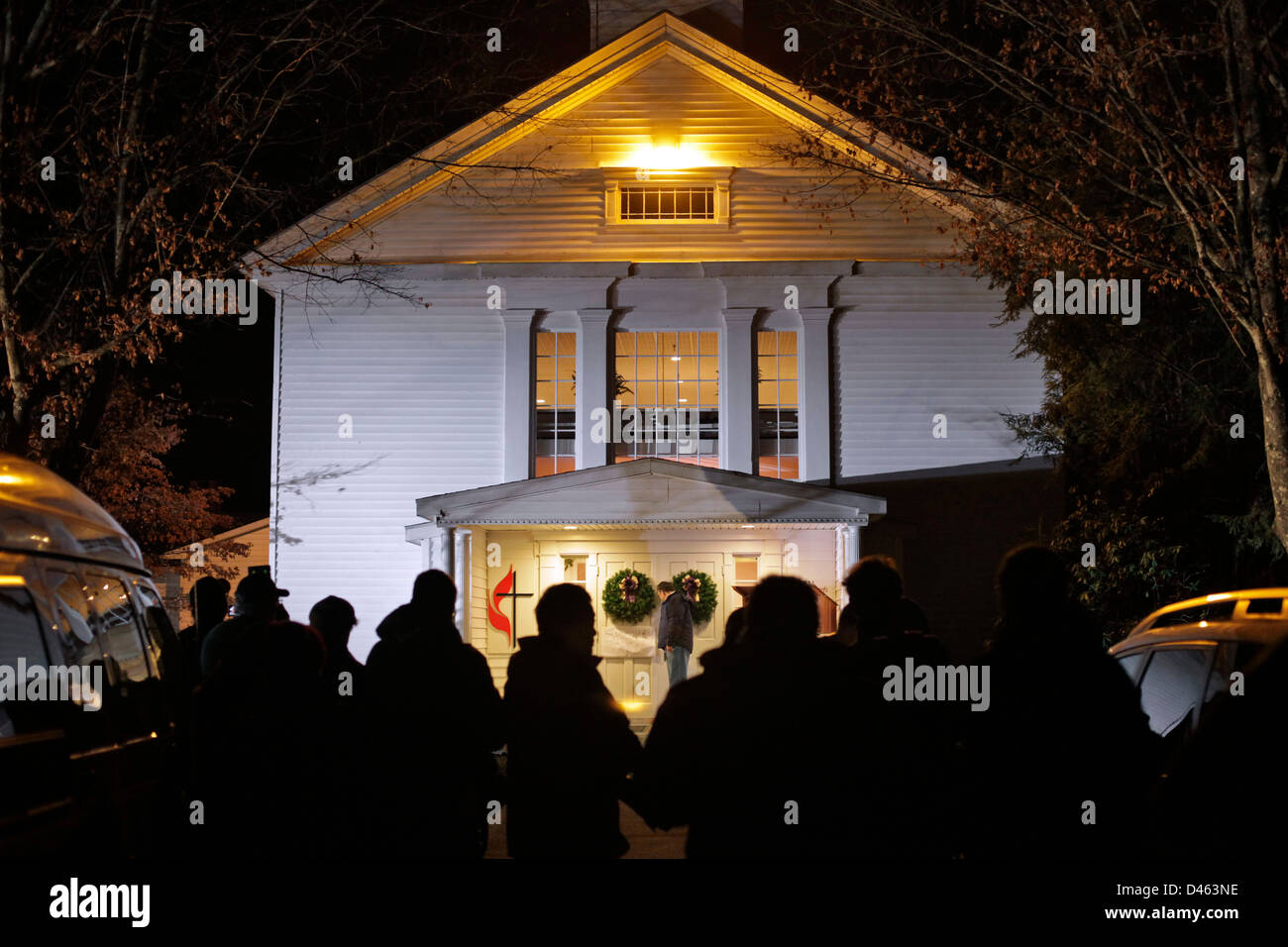 Newton, CT - Friday 12/14/2012 - The hours after the Sandy Hook Elementary School shootings. Stock Photo