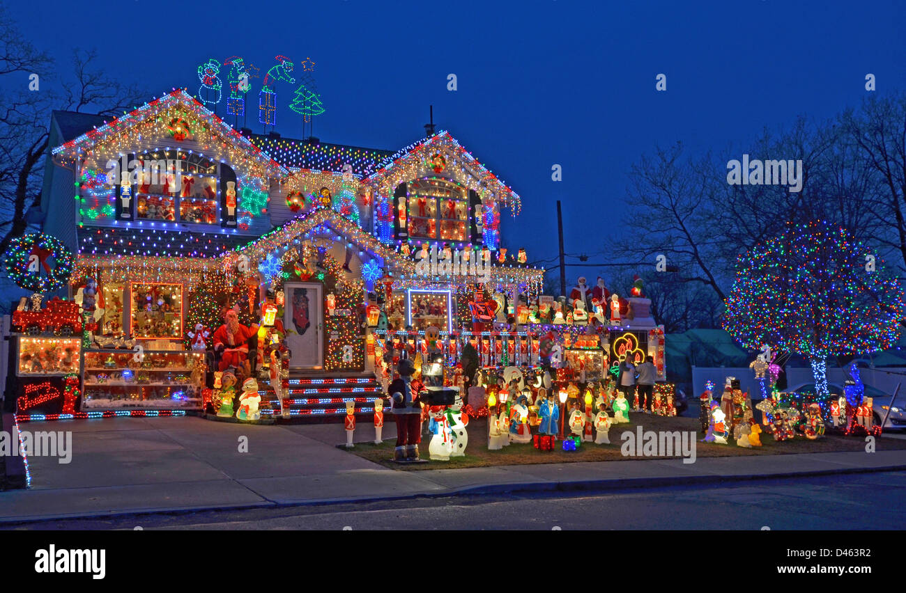 House In Bayside, Queens, New York With Elaborate Lighting For Christmas.