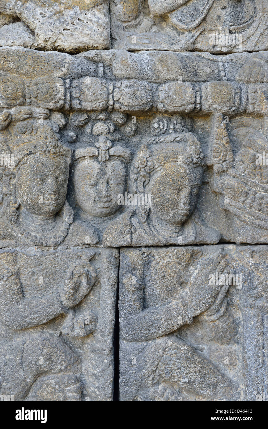 One of the bas-relief at Borobudur; Central Java, Indonesia. - Stock Image