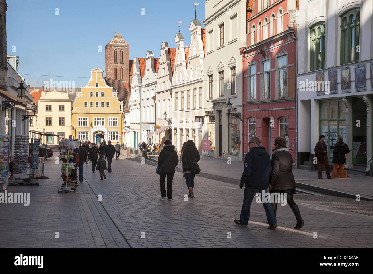 Krämerstrasse, Wismar, Mecklenburg Vorpommern, Germany - Stock Image
