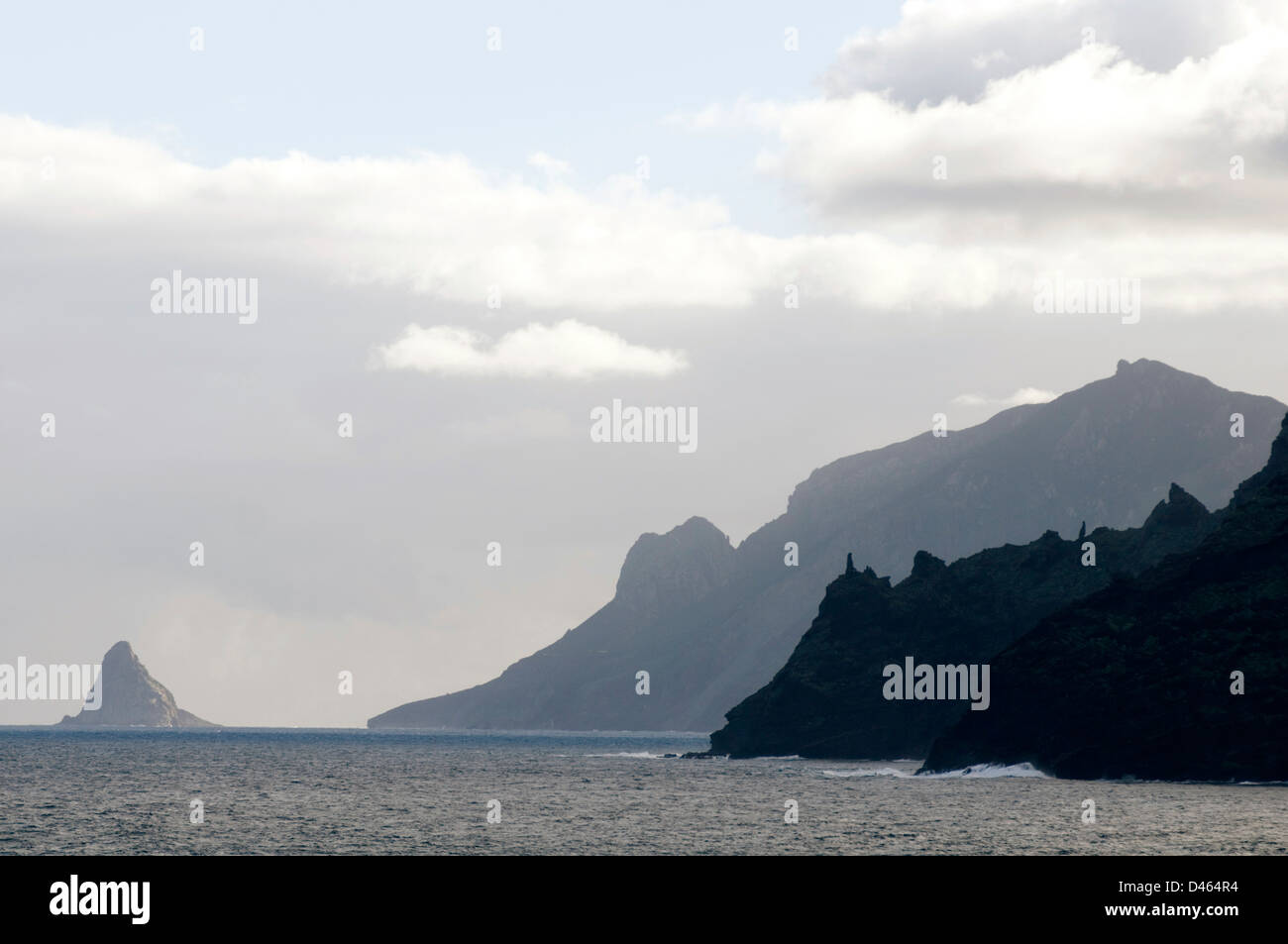craggy coastline coast line ragged rocks cliff tenerife canary islands isles island canaries - Stock Image