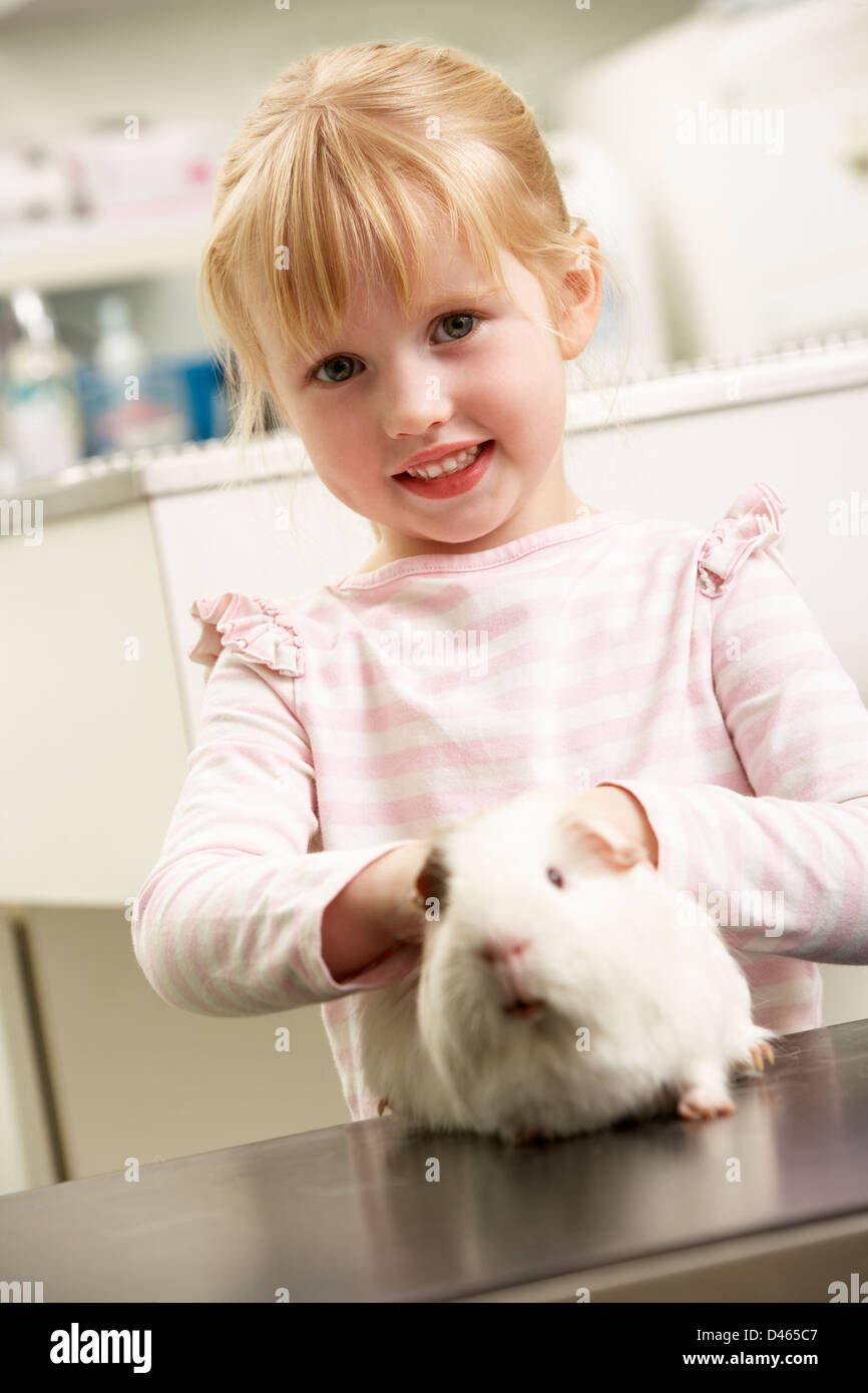 Child Taking Guinea Pig To Veterinary Surgery For Examination - Stock Image
