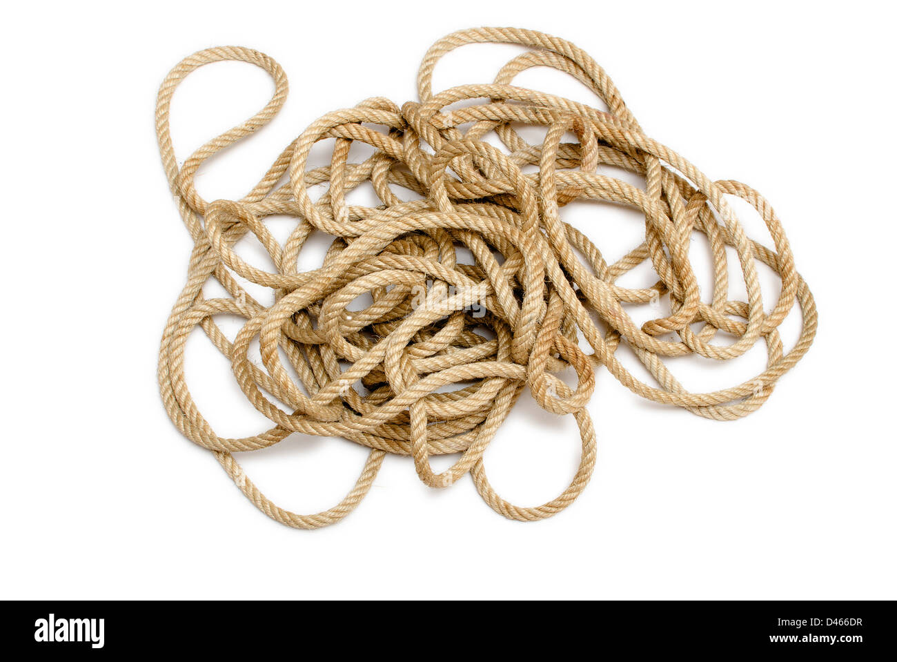 Mess rope against white background - Stock Image