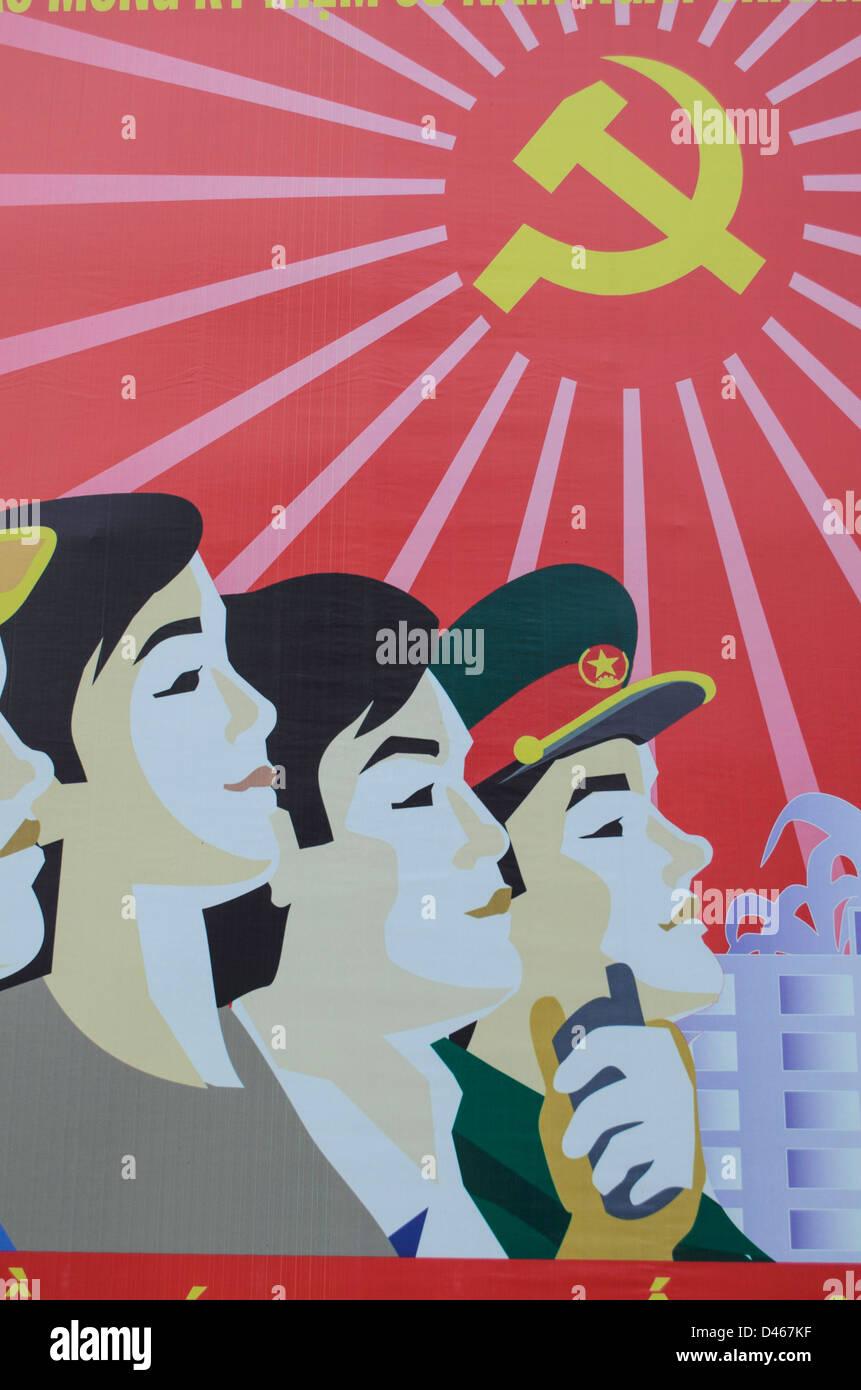 Vietnam propaganda poster - Stock Image