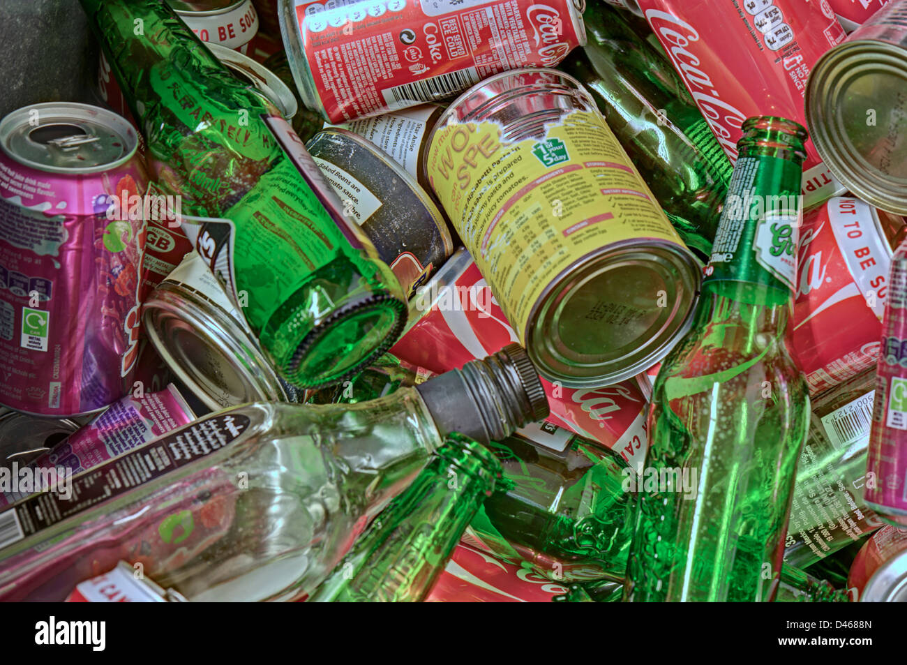 Close-up of bottles, tins and cans for recycling - Stock Image