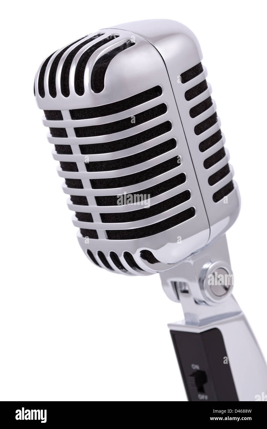 Vintage microphone isolated on white - Stock Image