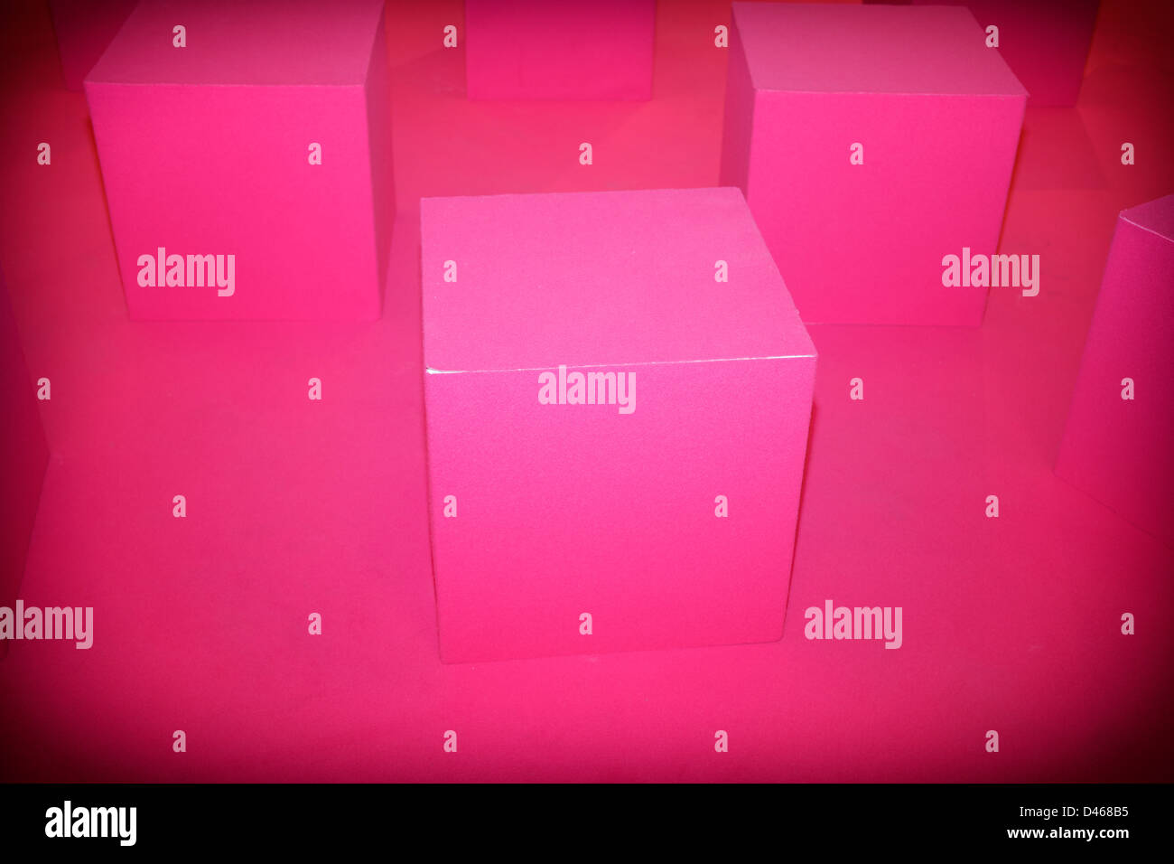 The space of cubic pink at Florence bike festival - Stock Image