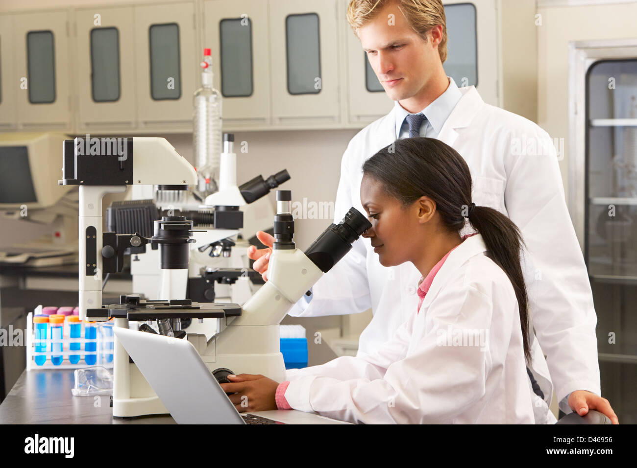 Male And Female Scientists Using Microscopes In Laboratory - Stock Image