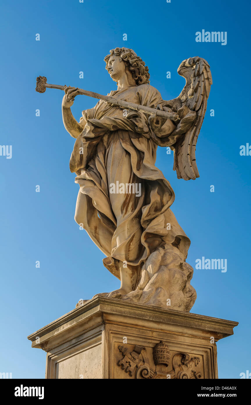 Bernini's angel with the Sponge filled with vinegar against blue sky Stock Photo